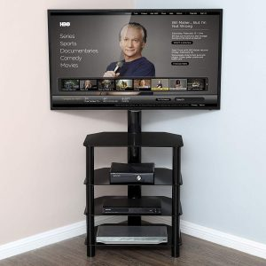 FITUEYES 4-Tiers Corner TV Stand